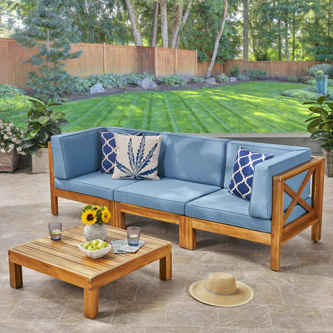 Outdoor Modular Acacia Wood Sofa and Coffee Table Set with Cushions - NH707603
