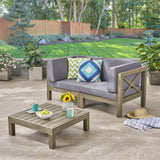 Outdoor Sectional Loveseat Set with Coffee Table  2-Seater  Acacia Wood  Water-Resistant Cushions - NH496603