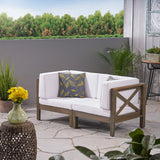 Outdoor Sectional Loveseat Set  2-Seater  Acacia Wood  Water-Resistant Cushions - NH286603