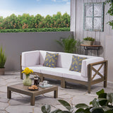 Outdoor Sectional Sofa Set with Coffee Table  3-Seater  Acacia Wood  Water-Resistant Cushions - NH407603