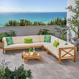 Outdoor 7 Seater Acacia Wood Sectional Sofa Set - NH034803