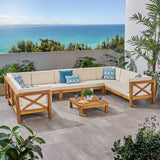 Outdoor 9 Seater Acacia Wood Sectional Sofa Set - NH534803