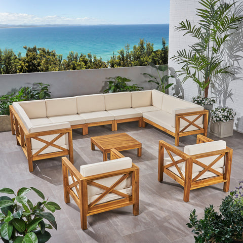 Outdoor 11 Seater Acacia Wood Sectional Sofa and Club Chair Set - NH044803