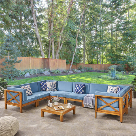 Outdoor 8-Seater Acacia Wood Sectional Sofa Set with Coffee Table - NH047603