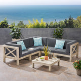Outdoor 5-Seater Gray Acacia Wood Sectional Sofa Set with Coffee Table - NH717603