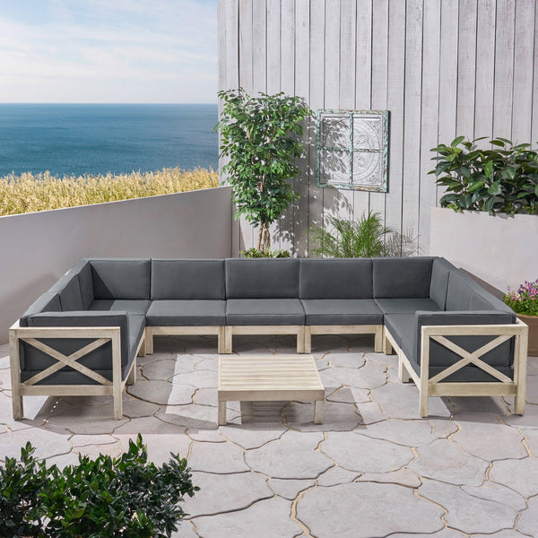 Outdoor 9 Seater Acacia Wood Sectional Sofa Set, Weathered Finish and Dark Gray - NH844803