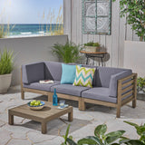 Outdoor Sectional Sofa Set with Coffee Table - 4-Piece 3-Seater - Acacia Wood - Outdoor Cushions - NH550703