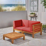 Outdoor Sectional Love Seat Set with Coffee Table - 3-Piece 2-Seater - Acacia Wood - Outdoor Cushions - NH640703