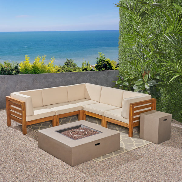 Outdoor V-Shaped Sectional Sofa Set with Fire Pit - NH960703