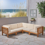 Outdoor V-Shaped Sectional Sofa Set - 5-Seater - Acacia Wood - Outdoor Cushions - NH260703