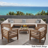 Outdoor 11 Seater Acacia Wood Sectional Sofa and Club Chair Set - NH984803