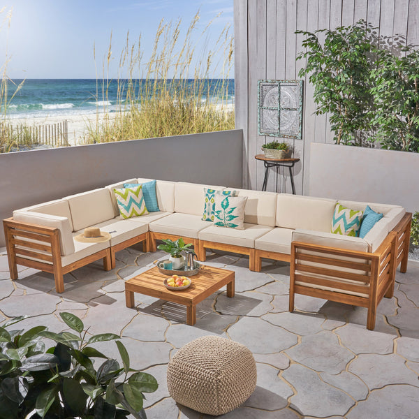Outdoor U-Shaped Sectional Sofa Set with Coffee Table - 9-Piece 8-Seater - Acacia Wood - Outdoor Cushions - NH090703