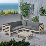 Outdoor V-Shaped Sectional Sofa Set with Coffee Table - 6-Piece 5-Seater - Acacia Wood - Outdoor Cushions - Weathered Gray and Dark Gray - NH160703