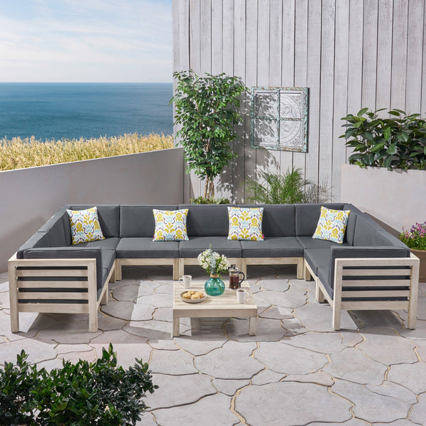 Outdoor 9 Seater Acacia Wood Sectional Sofa Set, Weathered Gray Finish and Dark Gray - NH794803