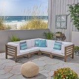 Outdoor V-Shaped Sectional Sofa Set - 5-Seater - Acacia Wood - Outdoor Cushions - NH460703