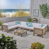 Outdoor U-Shaped Sectional Sofa Set with Coffee Table - 9-Piece 8-Seater - Acacia Wood - Outdoor Cushions - NH490703