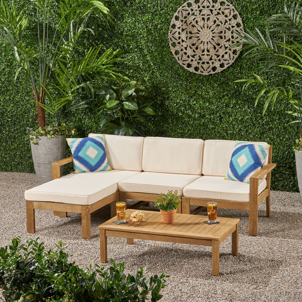 Ana Outdoor 3 Seater Acacia Wood Sofa Sectional with Cushions - NH253903