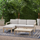 Outdoor 3 Seater Acacia Wood Sofa Sectional with Cushions - NH763903