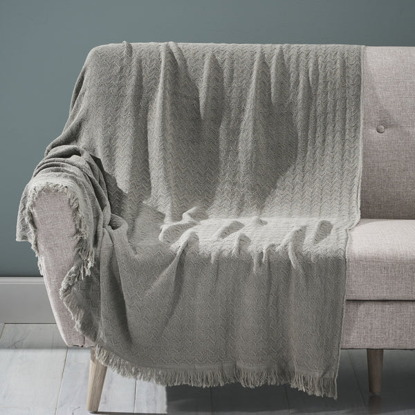 Contemporary Cotton Throw Blanket with Fringes, Gray - NH104903