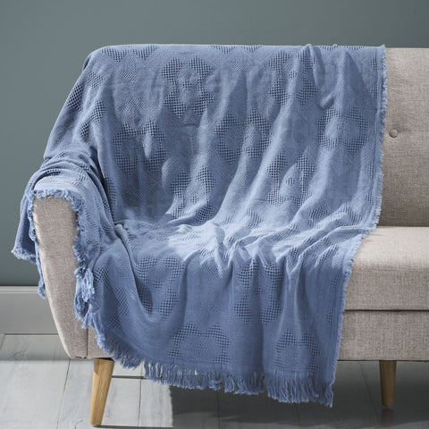 Contemporary Cotton Throw Blanket with Fringes, Aqua - NH004903