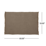 Contemporary Cotton Throw Blanket with Fringes, Brown - NH993903
