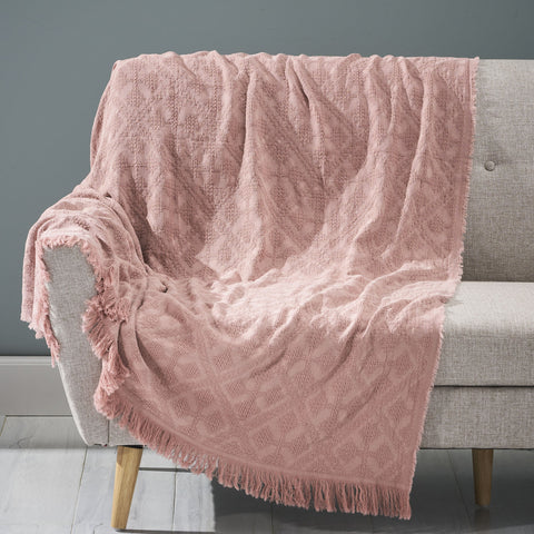 Contemporary Cotton Throw Blanket with Fringes, Dusty Pink - NH793903