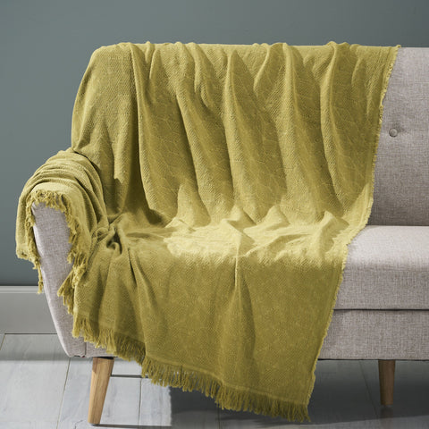 Contemporary Cotton Throw Blanket with Fringes, Olive - NH893903