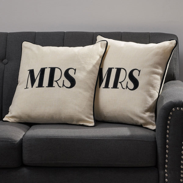 "Modern Fabric ""MRS"" Throw Pillow Cover (No Filling) (Set of 2), White and Black - NH754903"