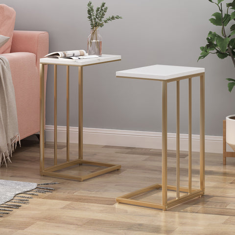 Modern Glam C Side Table, Set of 2, White and Champagne Gold - NH746703