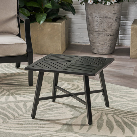 Outdoor Aluminum Side Table, Matte Black - NH453803