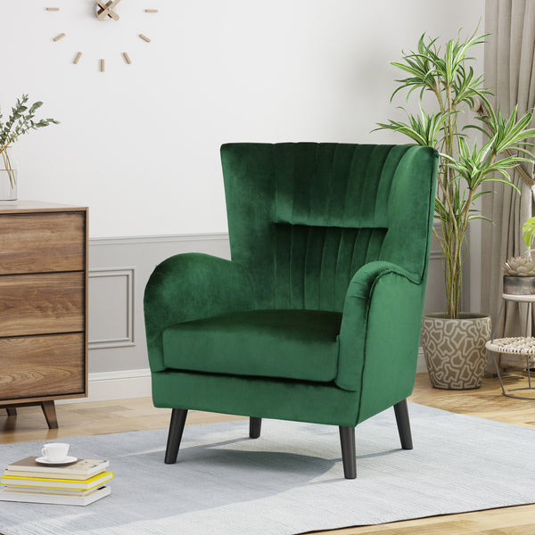 Modern Glam Channel Stitch Velvet Club Chair with Tapered Legs - NH384703