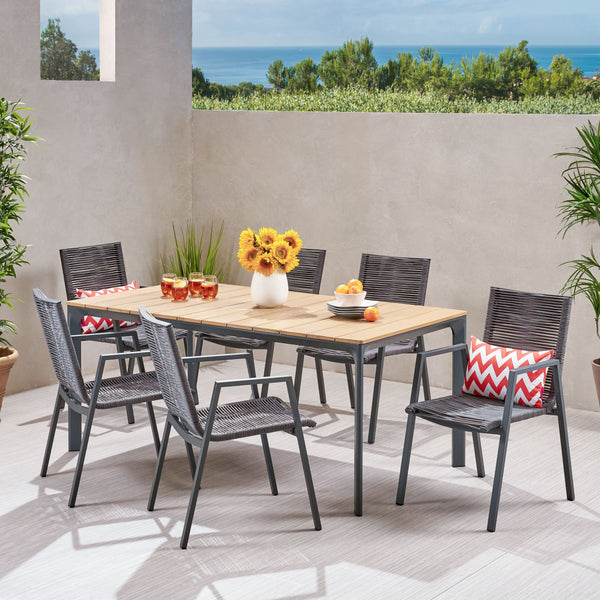 Outdoor Modern 6 Seater Aluminum Dining Set with Eucalyptus Table Top - NH058013