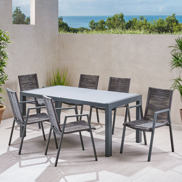 Outdoor Modern 6 Seater Aluminum Dining Set with Tempered Glass Top - NH258013