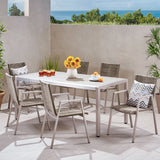 Outdoor Modern 6 Seater Aluminum Dining Set with Tempered Glass Top - NH158013
