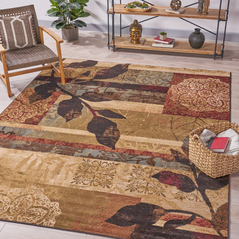 Indoor Abstract Floral Black and Rust Rectangular Area Rug - NH381603