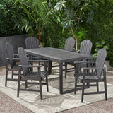 Outdoor 6 Seater Acacia Wood Adirondack Dining Set - NH355903