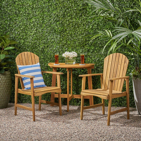 Outdoor 2 Seater Half-Round Acacia Wood Bistro Table Set with Adirondack Chairs - NH028903