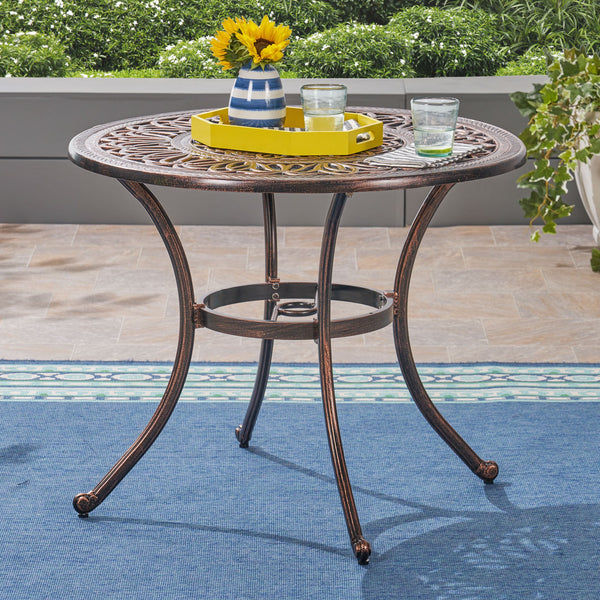 Outdoor Round Cast Aluminum Dining Table, Shiny Copper - NH372603