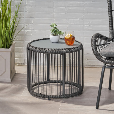 Outdoor Wicker Side Table with Tempered Glass Top - NH074013