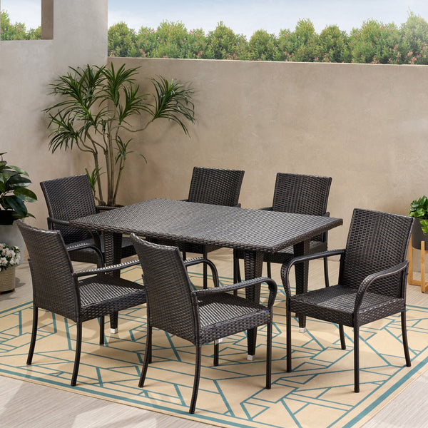Outdoor Contemporary 6 Seater Wicker Dining Set - NH570113