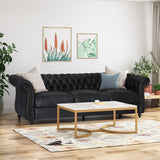 Chesterfield Tufted Microfiber Sofa with Scroll Arms - NH207703