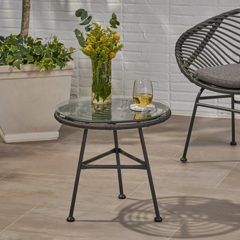Outdoor Woven Faux Rattan Side Table with Glass Top - NH761903