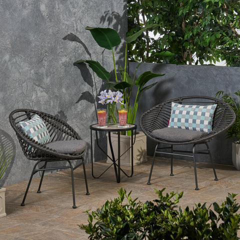 Outdoor Woven Faux Rattan Chairs with Cushions (Set of 2) - NH961903