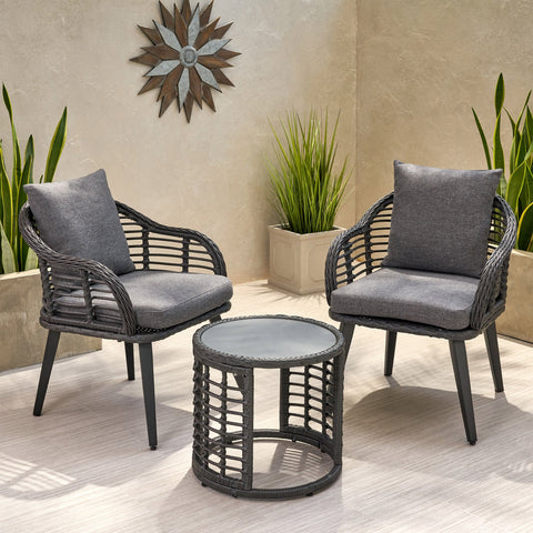 Outdoor Modern Boho 2 Seater Wicker Chat Set with Side Table - NH644013