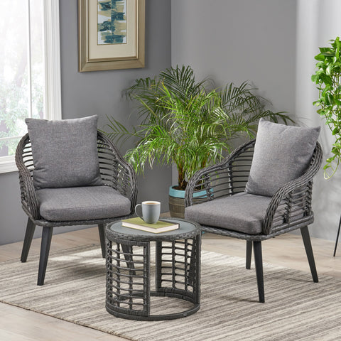 Indoor Modern Boho Wicker Chat Set with Side Table - NH254013