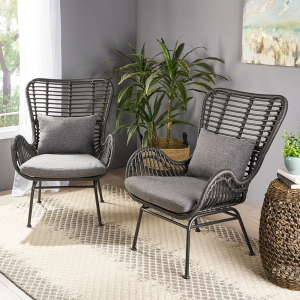 Indoor Wicker Accent Chairs with Cushions (Set of 2) - NH210013