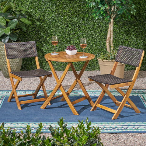 Outdoor Acacia Wood Wicker Foldable Bistro Set with Chairs and Table - NH710903