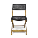 Outdoor Acacia Wood Foldable Bistro Chairs with Wicker Seating (Set of 2) - NH910903