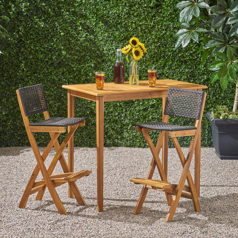 "Outdoor 45"" Rectangular 3 Piece Wood and Wicker Bar Height Set - NH443903"