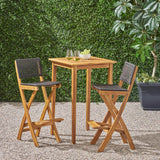 "Outdoor 26"" Square 3 Piece Wood and Wicker Bar Height Set - NH843903"